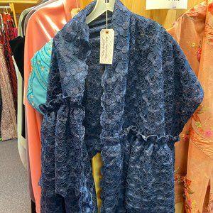 Blue Lace Floral Shawl